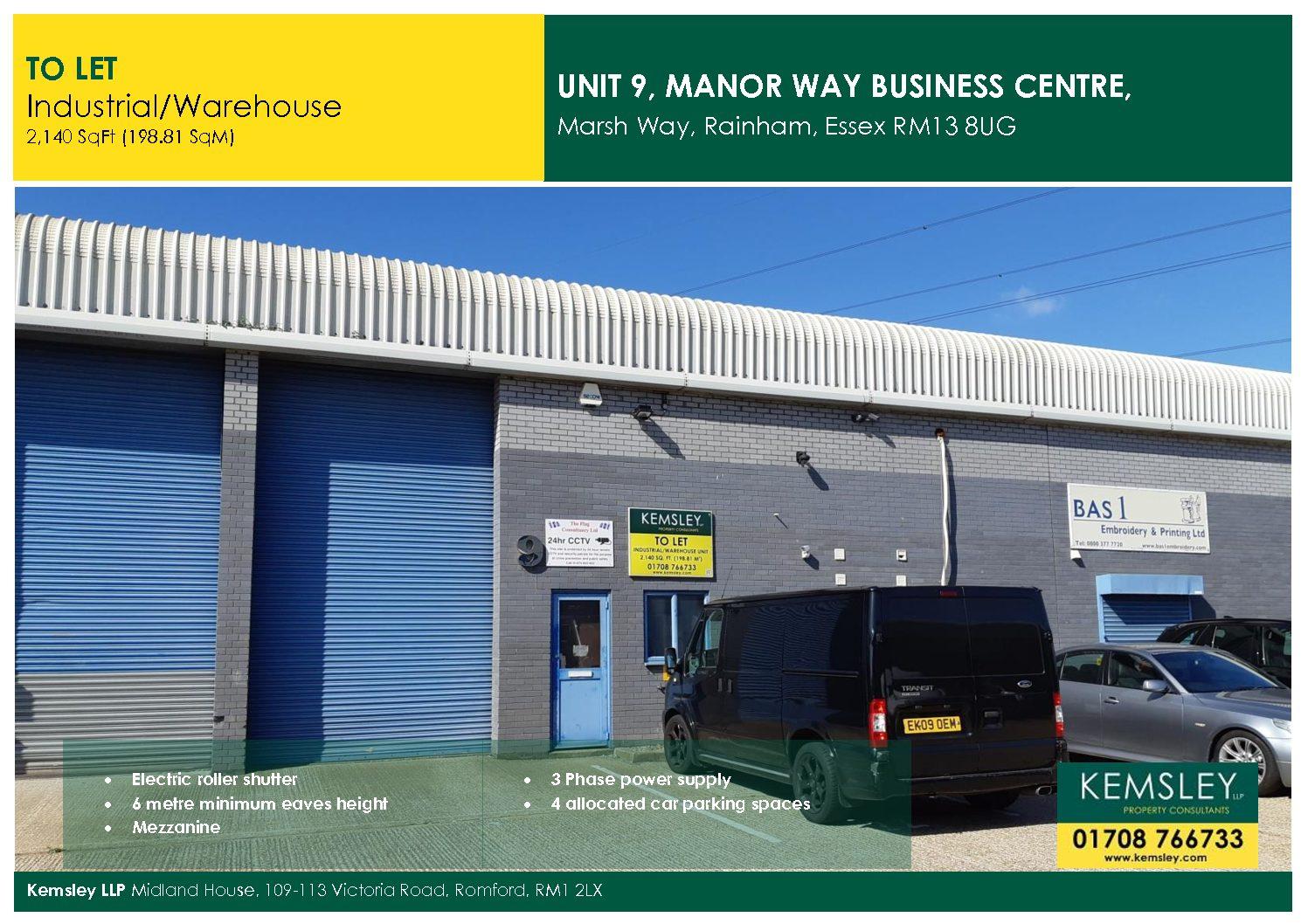 Unit 9, Manor Way Business Centre, Marsh Way, Rainham Essex RM13 8UG